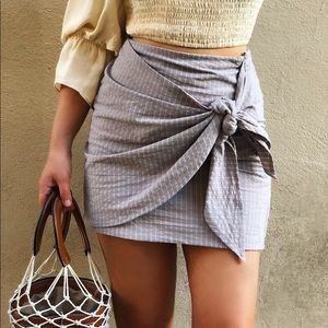 🆕Shannon Taupe & Striped Tie Front Wrap Skirt